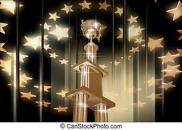 troféu, e, estrelas