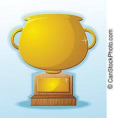troféu, em branco, caricatura, prêmio, recompensa