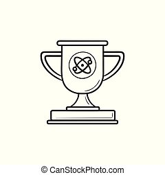 troféu, esboço, copo, doodle, mão, jogo, vídeo, desenhado, icon.