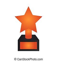 troféu, estrela, ícone