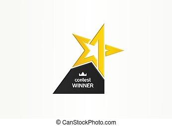 troféu, estrela, campeão, negócio, competição, ouro, símbolo, distinção, vencedor, numere um, idea., concept., lugar, logotipo, icon., criativo, abstratos, primeiro