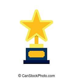 troféu, estrela, ouro, ícone