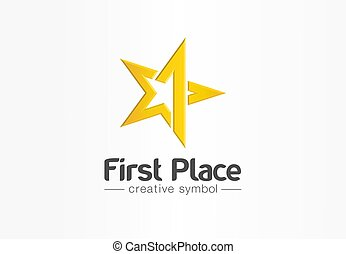 troféu, estrela, ouro, negócio, competição, concept., símbolo, distinção, vencedor, número, prêmio, um, idea., vitória, lugar, logotipo, icon., criativo, abstratos, primeiro