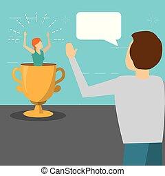 troféu, falando, mulher, homem