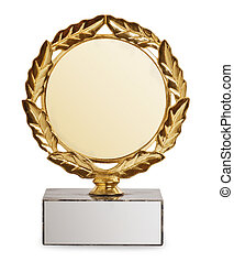 troféu, fundo branco, isolado, ouro