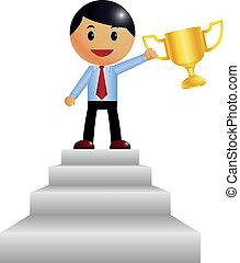 troféu, ganha, rapaz incorporado