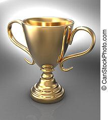 troféu, ganhe, campeonato, ouro, distinção