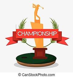 troféu, golfe, campeonato, bandeira