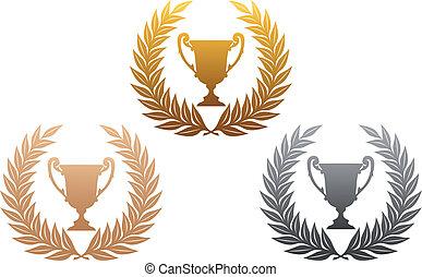 troféu, grinaldas, dourado, laurel, prata, bronze