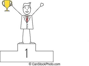 troféu, homem, caricatura, paleto