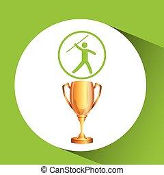 troféu, javelin, silueta, atleta, homem