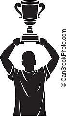 troféu, jogador, levantamento