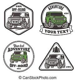 troféu, jogo, car, fora-estrada, suv, caminhão, modelo, logotipo, 4x4