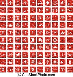 troféu, jogo, grunge, ícones, recompensas, 100, vermelho