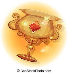 troféu, jogo, vencedores, ui, ouro