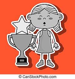 troféu, menina, estrela, ícone