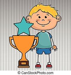 troféu, menino, estrela, ícone