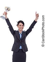 troféu, mulher, excitado, negócio, ganhar