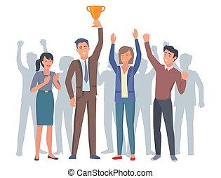 troféu, ouro, aplaudindo, humanos, afortunado, quatro