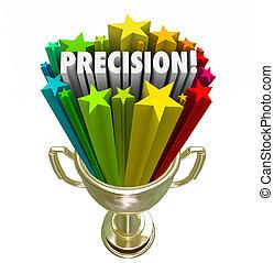 troféu, palavra, meta, atingido, exato, vencedor, precisão, objetivo