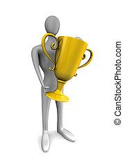 troféu, pessoa, ouro, mãos