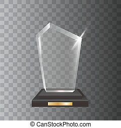 troféu, realístico, distinção, vidro, vetorial, em branco,...