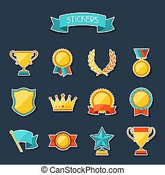 troféu, recompensas, set., adesivos