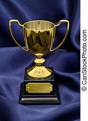 troféu, seda, vencedores, fundo, ouro