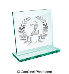 troféu, segundo, prata