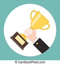 troféu, segurando mão