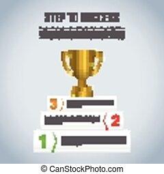 troféu, sucesso, vencedor, passo, infographic, desenho, modelo