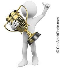 troféu, vencedor, 3d, ouro, mãos