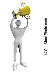 troféu, vencedor, ouro, mãos