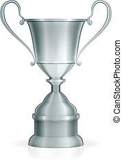 troféu, vetorial, prata