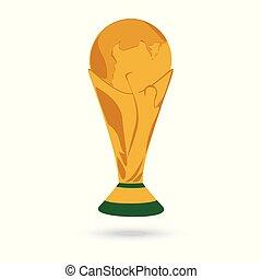 troféu, xícara ouro, isolado, fundo, mundo, branca