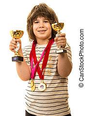 trofei, ragazzo, esposizione, suo, campione