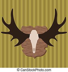 trofeo, alce, caza, cabeza, ilustración, vector, plano de fondo, cuernos
