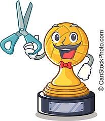trofeo, barbiere, carattere, isolato, pallavolo