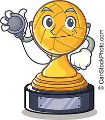 trofeo, carattere, isolato, pallavolo, dottore
