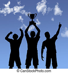 trofeo, celebración, siluetas, en, cielo
