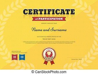 trofeo, certificato, ghirlanda, giallo, tema, trionfo, sagoma, alloro, sport, nastro, partecipazione