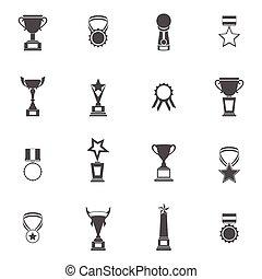 trofeo, conjunto, iconos