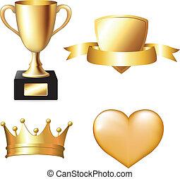 trofeo, conjunto, oro