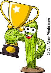 trofeo, divertente, tazza, vincitore, carattere, isolato, vettore, cactus, cartone animato