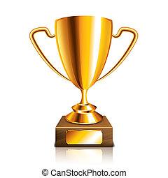 trofeo, dorado, blanco, vector, aislado