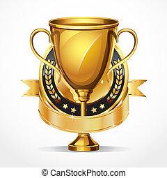 trofeo, dorado, medal., premio