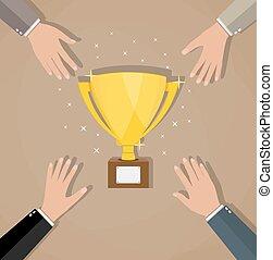 trofeo, dorato, fra, concorrenza, businessmans
