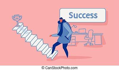 trofeo, dorato, schizzo, concetto, ufficio, affari, tazza, scala carriera, vincitore, su, strategia, riuscito, direzione, interno, rampicante, orizzontale, scale, casuale, uomo