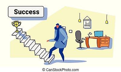 trofeo, dorato, schizzo, concetto, ufficio, colorito, tazza, riuscito, scala, vincitore, su, strategia, carriera affari, direzione, interno, rampicante, orizzontale, scale, casuale, uomo