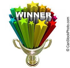 trofeo, fuegos artificiales, explosión, ganador, -,...